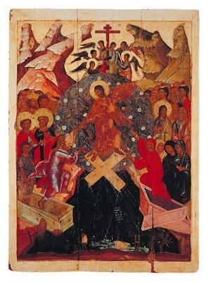 Воскресение. Сошествие во ад. Икона из Воскресенского собора в кремле в Коломне. Кон. XIV в. (ГТГ).jpg