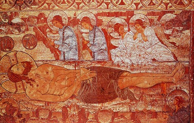 Христос во гробе. Плащаница. XIV в. (Византийский музей. Афины). Фрагмент.jpg