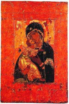Владимирская икона Божией Матери. Константинополь. До 1130 г. (Ц. свт. Николая в Толмачах при ГТГ).jpg