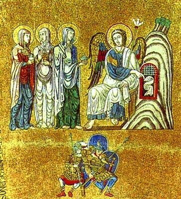 Жены-мироносицы у Гроба Господня. Мозаика собора Сан-Марко в Венеции. Кон. XI - нач. XII в..jpg