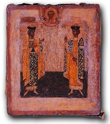 Святые Борис и Глеб. Икона. 1-я пол. XVII.jpg